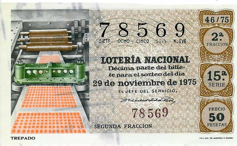 imagen de boleto de boleteria en 1975