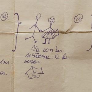 dibujo hecho por una niña en una de las casas donde fernando estuvo oculto detalle