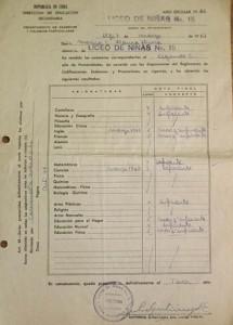 Notas del colegio, 1966