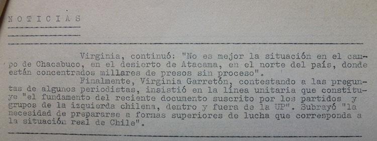 Testimonio sobre Chacabuco, Chile Democrático, Roma,1973