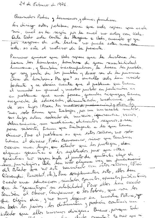 Carta de Jorge Vercelotii enviada a su familia, 1976