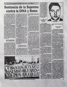 recorte de prensa son notica sobre sentencia a osvaldo romo
