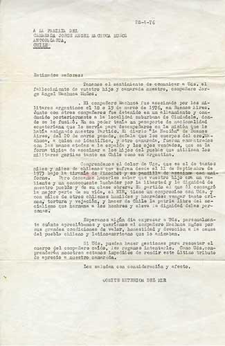 Carta enviada por el MIR, 1976